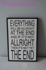 "Houten muurdecoratie met tekst "" Everything will be allright..."""